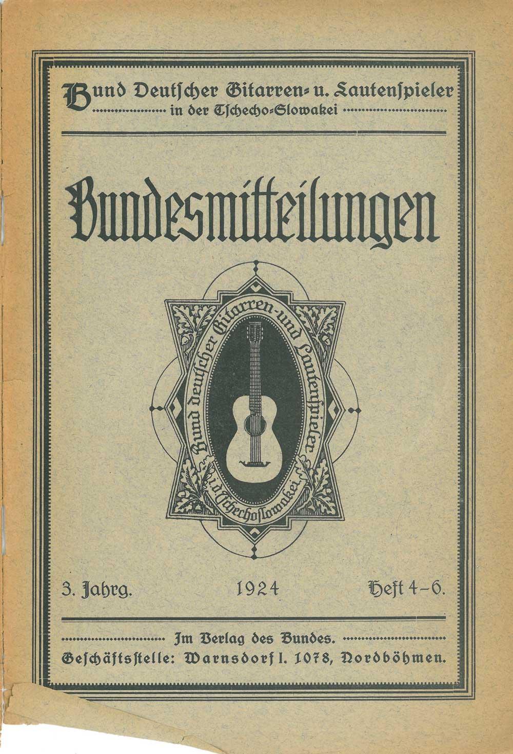 Bundesmitteilungen des Bundes Deutscher Gitarren- und Lautenspieler in der Tschecho-Slowakei